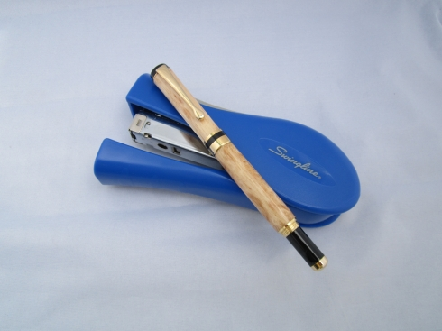 Dick Koharik - Hand Turned Birds Eye Maple Pen - 24K gold accents