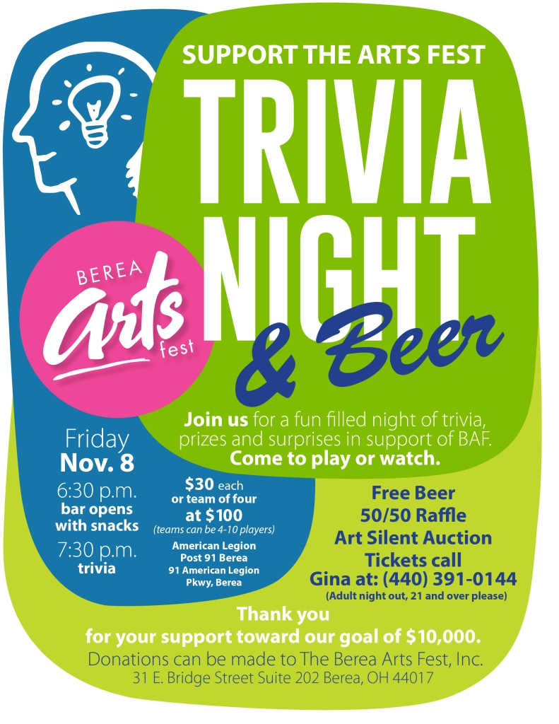 beer, trivia, berea arts fest, fun, raffle, art,